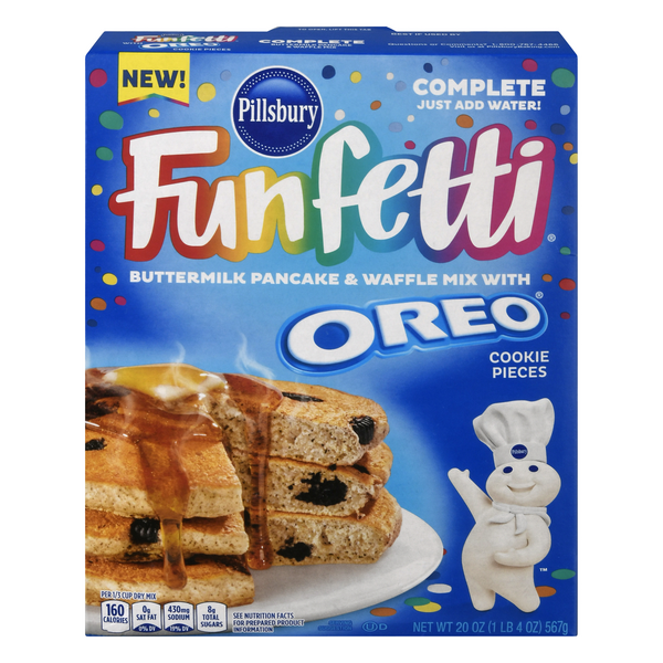 Pillsbury Funfetti Pancake Waffle Mix Buttermilk with Oreo Cookie Pieces