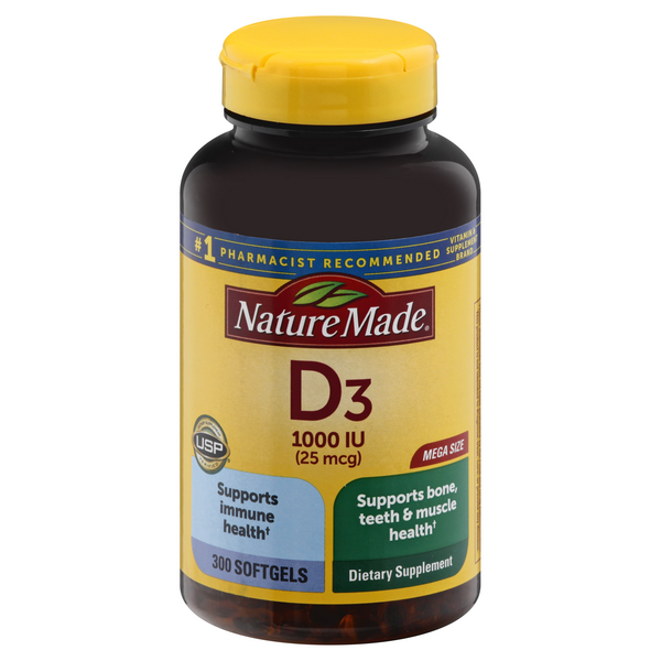 Nature Made Vitamin D3 1000 IU Dietary Supplement Softgels