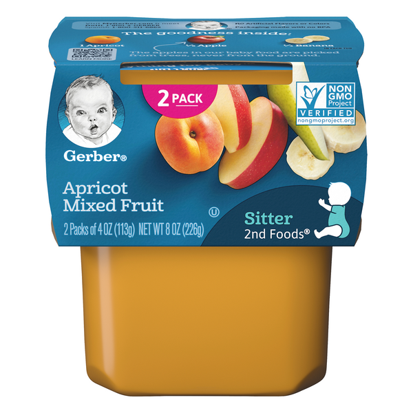Gerber 2nd Baby Food Apricot Mixed Fruit - 2 ct