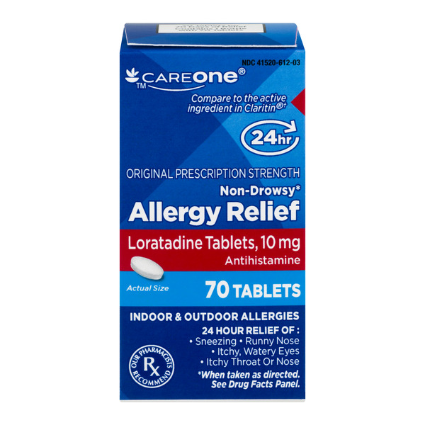 CareOne Allergy Relief 24 Hour Loratadine 10mg Tablets Non-Drowsy