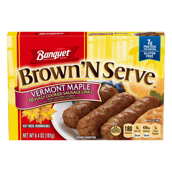 Banquet Brown 'N Serve Sausage Links Vermont Maple - 10 ct Frozen