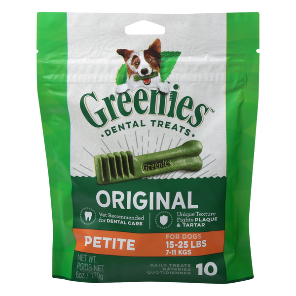 Greenies Dental Treats Original Petite for Dogs 15-25 lbs - 10 ct