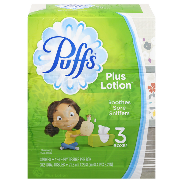 Puffs Plus Lotion Facial Tissues 2-Ply White 124 ct ea - 3 ct