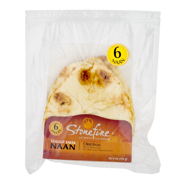 Stonefire Authentic Flatbreads Tandoor Baked NAAN Original - 6 ct