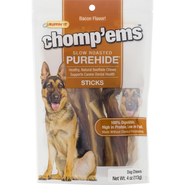 Ruffin' It Chomp'Ems Slow Roasted Purehide Sticks Bacon Flavor