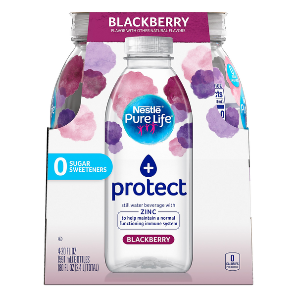 Nestle Pure Life Zinc + Protect Still Water Beverage Blackberry - 4 pk