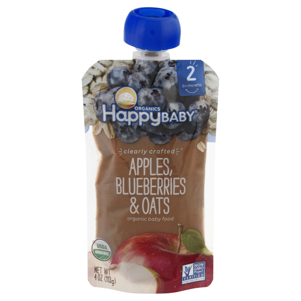 HappyBaby Organics Stage 2 Baby Food Apples, Blueberries & Oats Organic