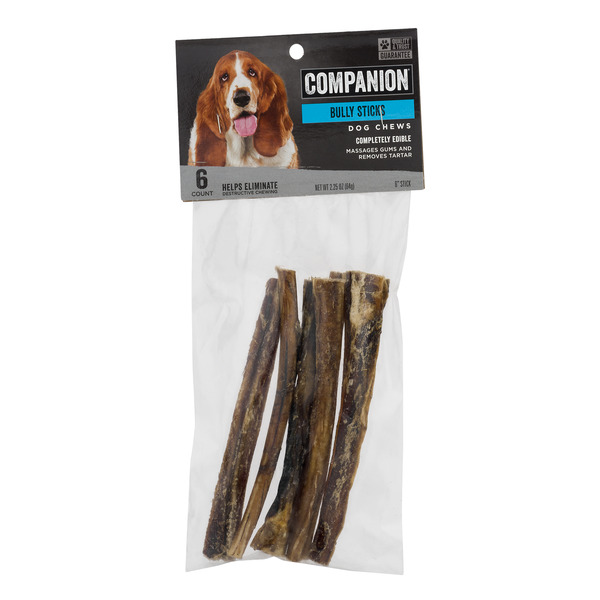 Companion Dog Chews Bully Sticks - 6 ct