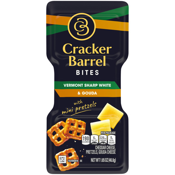 Cracker Barrel Bites Vermont Sharp White & Gouda with Mini Pretzels