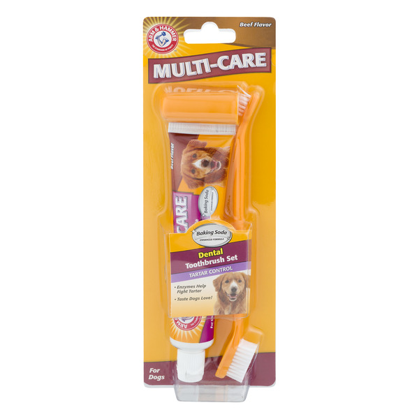 Arm & Hammer Multi-Care Dental Toothbrush Set For Dogs Beef Flavor