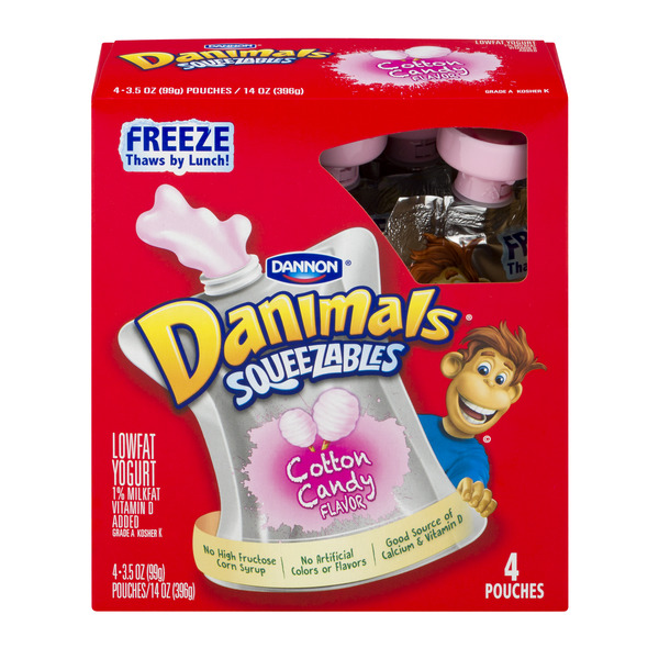 Dannon Danimals Squeezables Yogurt Cotton Candy Low Fat - 4 ct