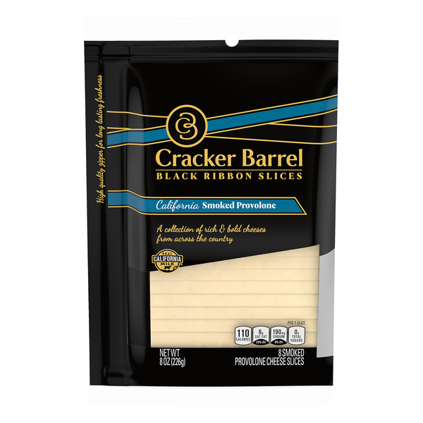 Cracker Barrel Black Ribbon Slices Cheese Cali Smoked Provolone - 8 ct