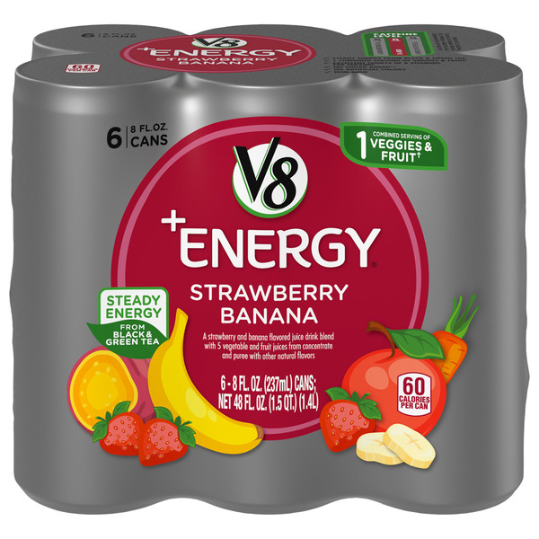 V8 +Energy Flavored Beverage Strawberry Banana - 6 pk