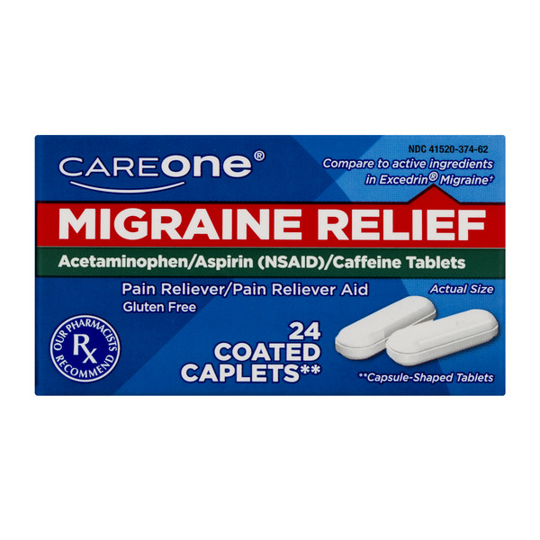 CareOne Migraine Relief Pain Reliever Coated Caplets Gluten Free