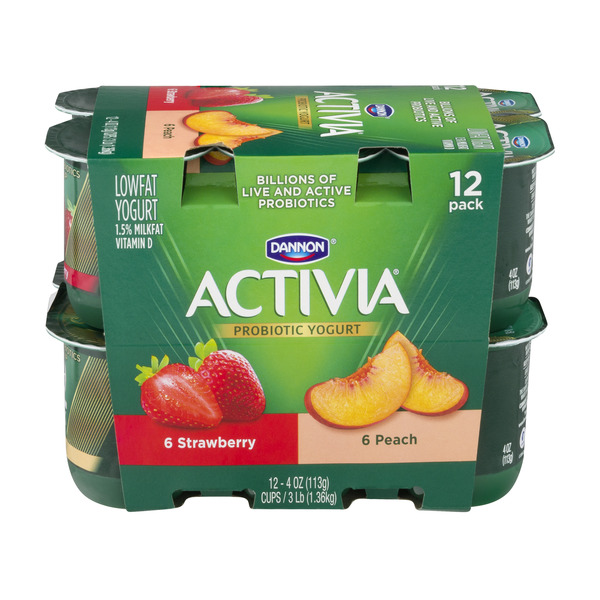 Activia Probiotic Yogurt Strawberry & Peach Low Fat - 12 ct