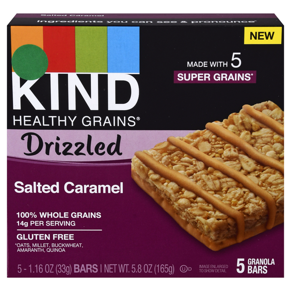 KIND Healthy Grains Drizzled Salted Caramel Granola Bars - 5 ct