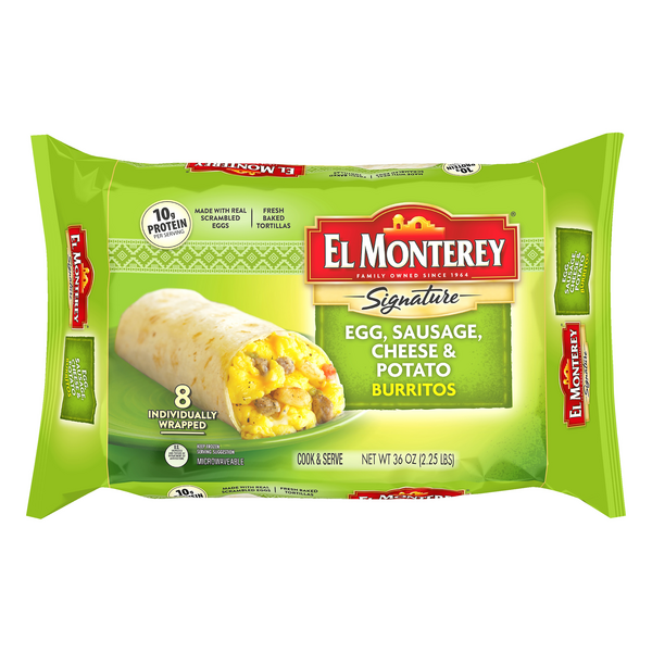 El Monterey Signature Burritos Egg, Sausage, Cheese & Potato - 8 ct