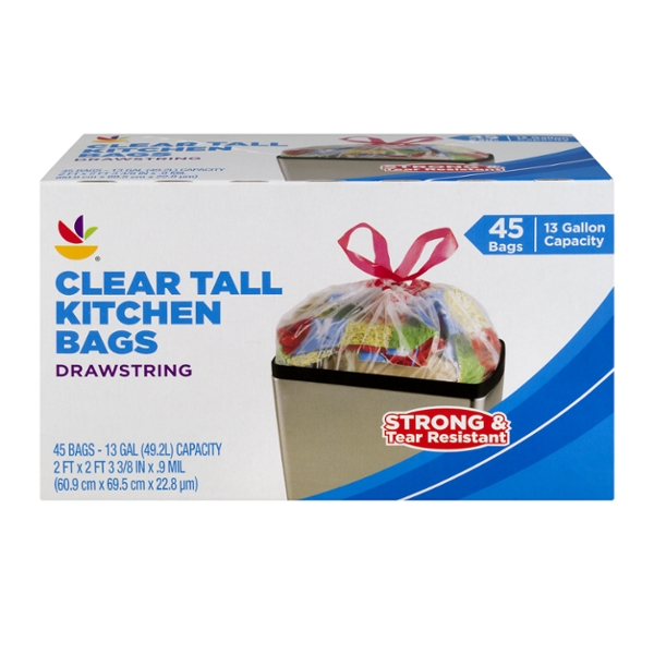 GIANT Tall Kitchen Bags Drawstring Clear 13 Gallon