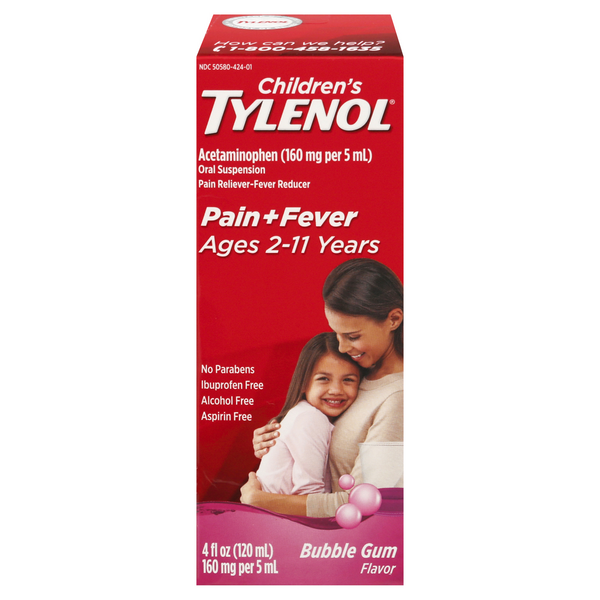 Tylenol Children's Pain + Fever Acetaminophen Ages 2-11 Liquid Bubble Gum