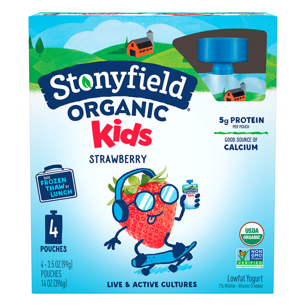 Stonyfield Kids Yogurt Pouches Strawberry Organic - 4 ct