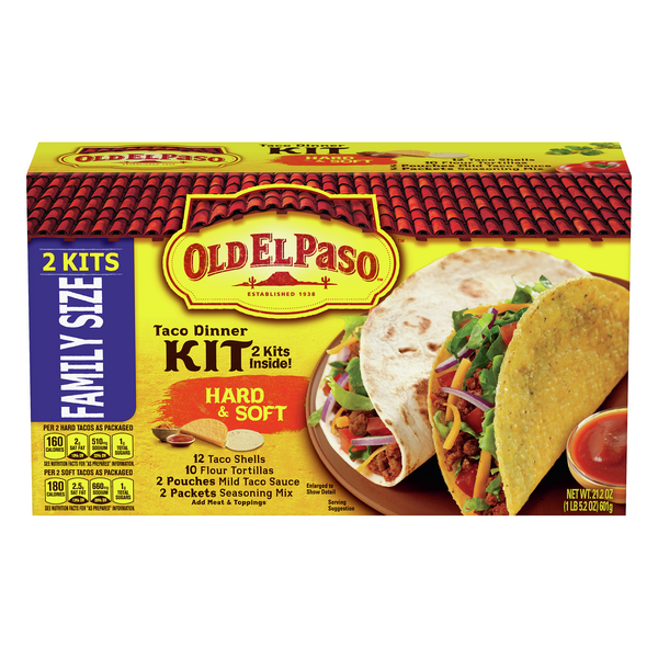 Old El Paso Taco Dinner Kit Hard & Soft Add Meat - 24 ct
