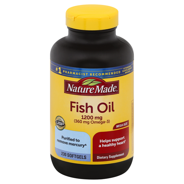 Nature Made Fish Oil 1200 mg (Omega-3 360 mg) Supplement Softgels
