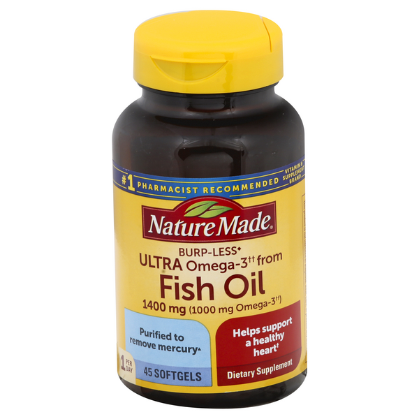 Nature Made Fish Oil 1400 mg (Ultra Omega-3 1000 mg) Supplement Softgels