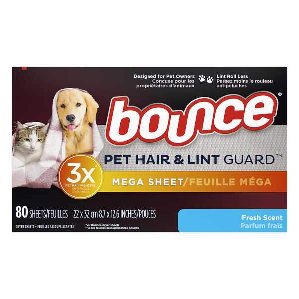 Bounce Pet Hair & lint Guard Mega Dryer Sheets Fresh Scent
