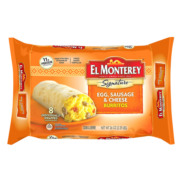 El Monterey Signature Burritos Egg Sausage & Cheese - 8 ct