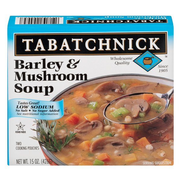 Tabatchnick Barley & Mushroom Soup Low Sodium - 2 pouches Frozen