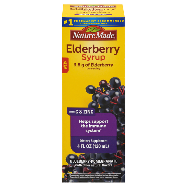 Nature Made Dietary Supplement Black Elderberry Syrup with C & Zinc