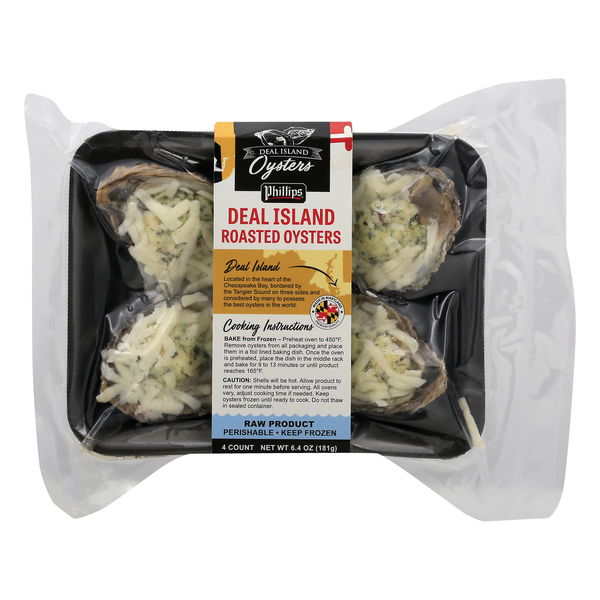 Phillips Deal Island Roasted Oysters Frozen - 4 ct