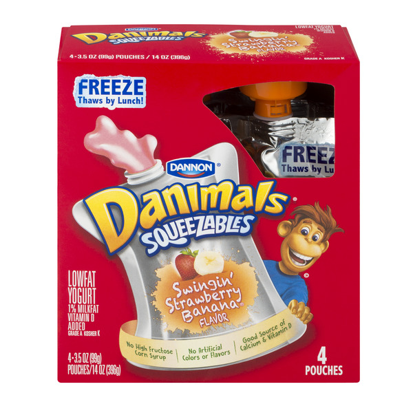 Dannon Danimals Squeezables Yogurt Swingin Strawberry Banana Low Fat - 4ct