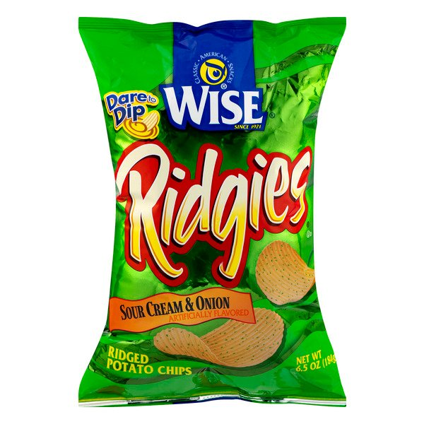 WISE Ridgies Potato Chips Sour Cream & Onion