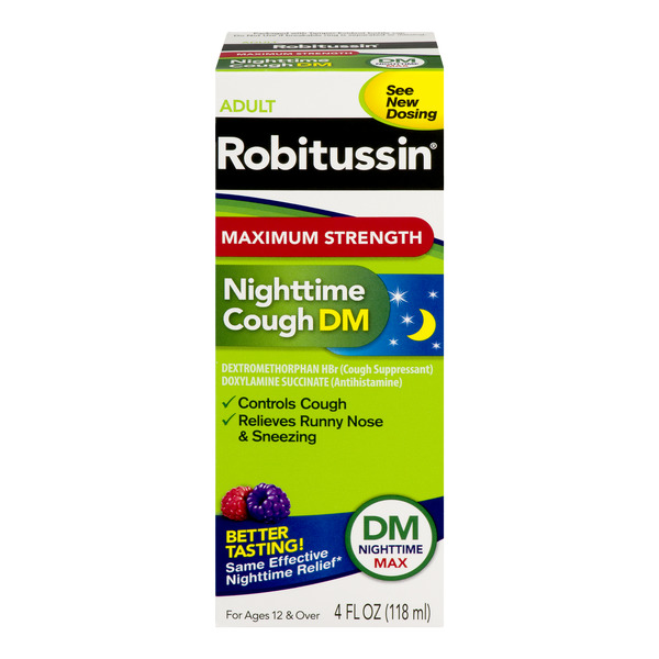 Robitussin Adult Nighttime Cough DM Maximum Strength Berry Flavor
