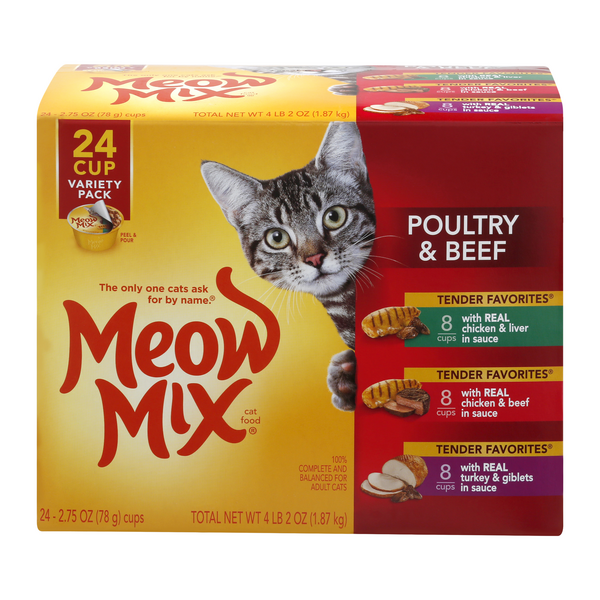 Meow Mix Poultry & Beef Wet Cat Food Variety Pack - 12 ct