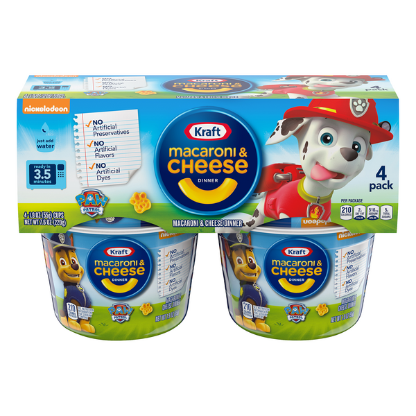Kraft Paw Patrol Shapes Macaroni & Cheese Dinner - 4 ct