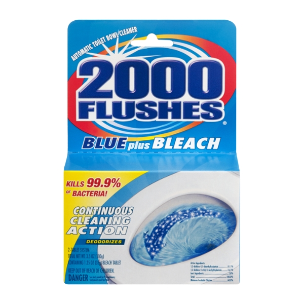 2000 Flushes Automatic Toilet Bowl Cleaner Blue Plus Bleach Tablet