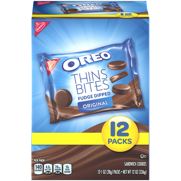 Nabisco Oreo Thins Bites Fudge Dipped Original - 12 ct