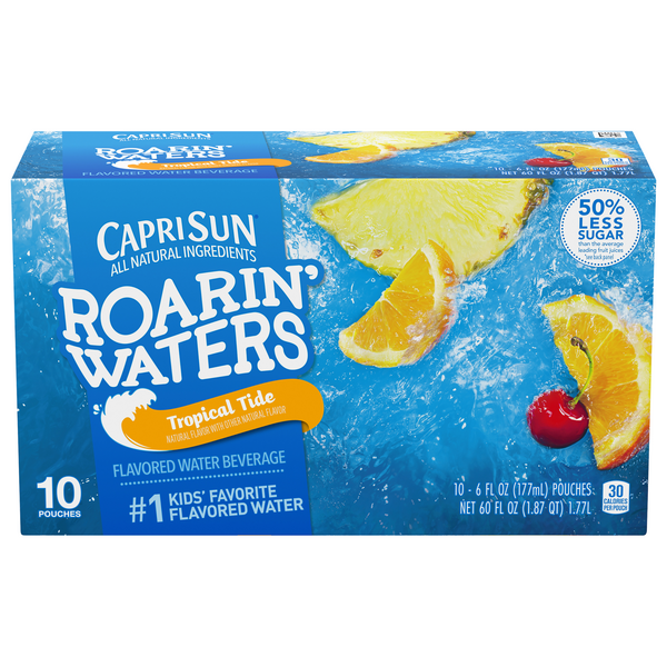 Capri Sun Roarin' Waters Flavored Water Beverage Tropical Tide - 10 pk