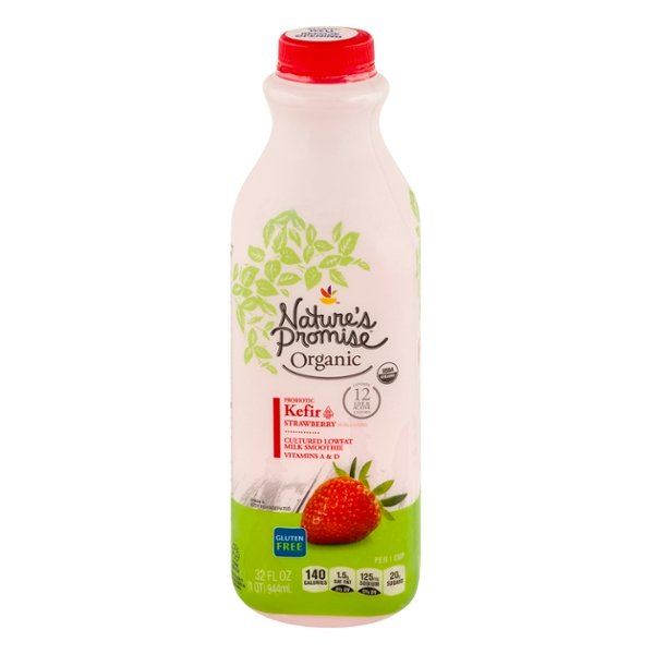 Nature's Promise Low Fat Kefir Cultured Milk Smoothie Strawberry Organic