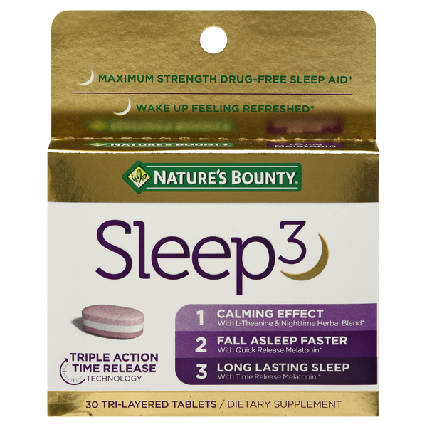Nature's Bounty Sleep3 Dietary Supplement Tri-Layered Tablets