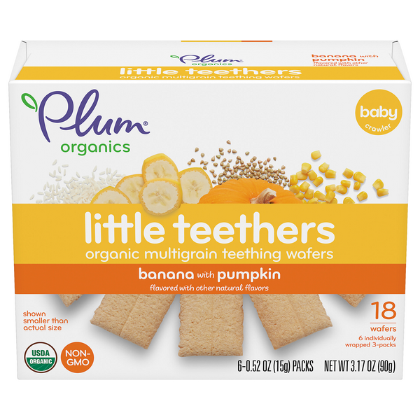 Plum Organics Little Teethers Teething Wafers Banana with Pumpkin - 18 ct