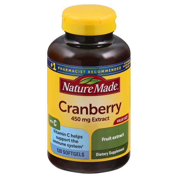Nature Made Cranberry Extract 450 mg with Vitamin C Supplement Softgels