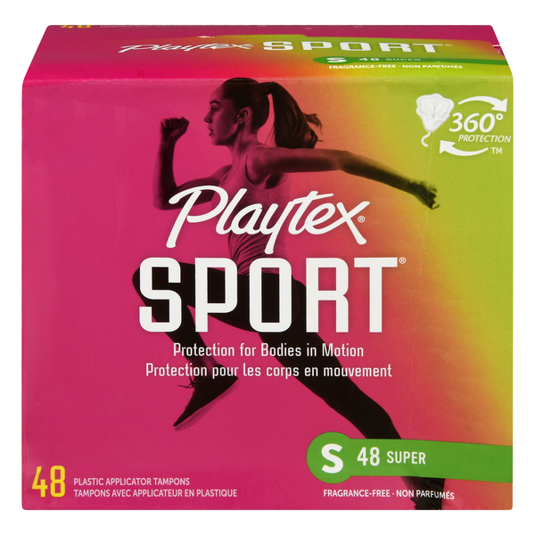 Playtex Sport Plastic Applicator Tampons Super Unscented