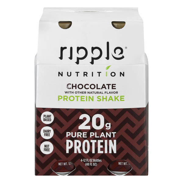 Ripple Nutrition Protein Plant Based Shake Chocolate - 4 pk