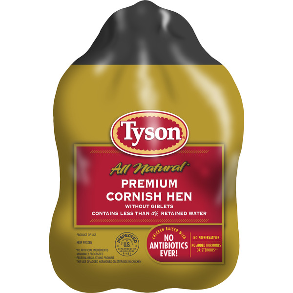 Tyson Premium Cornish Hen All Natural - 2 ct Frozen