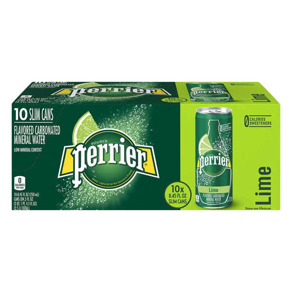 Perrier Sparkling Mineral Water Lime Slim Can - 10 pk