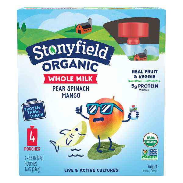 Stonyfield Yogurt Pouches Whole Milk Pear Spinach Mango Organic