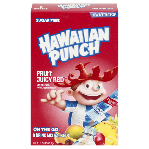Hawaiian Punch On The Go Drink Mix Fruit Juicy Red Sugar Free - 8 ct